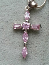 Sterling silver cross with pink CZ' & 16 inch snake chain  REDUCED *WAS £12.99*