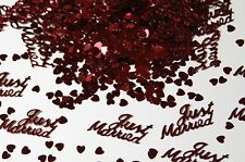 Just Married BURGUNDY Wedding Confetti Table Decoration Scatter Sprinkles