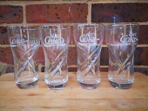 Coca Cola Glasses x4 Diet Coke Vintage Cult