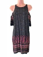 Urban Outfitters black floral cold shoulder paisley print shift dress size 6 34