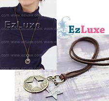 Korean drama J-pop Boa Western Star Cut Coin Suede Necklace vintage 2-tone match