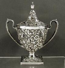 Gorham Sterling Sugar Bowl    c1905 HAND DECORATED