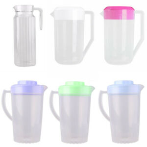Plastic Ribbed Water Juice Iced Tea Covered Pitcher Jug Container w/Lid Handle