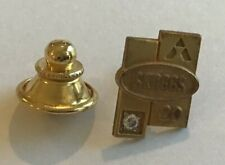 Vtg Skaggs Drug Store 20 Year Employee Gold Filled Pin with Tested Diamond AF-68