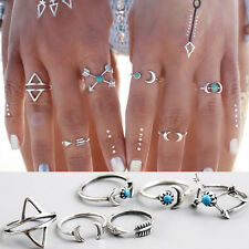 6Pcs Boho Ethnic Gypsy Mexico Moon Sun Turquoise Jewelry Rings Retro Rings Pack