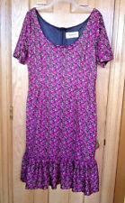 Tatyana black and pink floral ruffle-hem retro sheath dress 4XL RUNS SMALL 1X/2X
