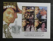 TIMBRES ST KITTS** Bloc-Feuillet 2002 - 50e accession d'Elizabeth II (A267)