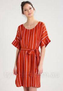 STINE GOYA DARK ORANGE STRIPED SILK BLEND TIED WAIST TUNIC DRESS SMILLA-M/L