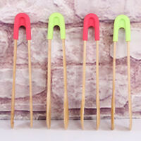 Bamboo cooking kitchens tongs BBQ wooden clip salad bread cake bacon steak tools
