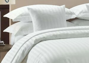 Duvet Set + Fitted Sheet White Stripe All Sizes 1000 Thread Count Egypt Cotton