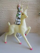 Vintage Lrg White Celluloid Prancing Reindeer Pink Hoofs Xmas Decoration 12""