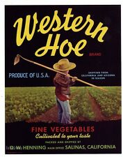 WESTERN HOE Vintage Salinas Vegetable Crate Label, Farm Boy, *AN ORIGINAL LABEL*