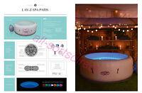 2018 Lay Z Spa Paris Airjet 4-6 Person Inflatable Hot Tub Multicolour LED Lights