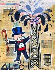 Alec Monopoly Oil Painting on Canvas Urban art Wall Decor Oil Money 28x36""