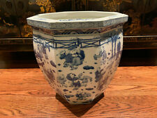 A Large Chinese Antique Blue and White Porcelain Jardiniere, Marked.