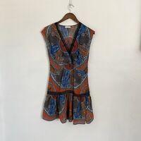 Sandro 36  Paris Paisley V-neck Print Silk blend Faux Wrap sleeveless Dress