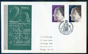 The Great Britain 1972 Silver Wedding f.d.c.,  with special pmk.(2020/11/03#01)