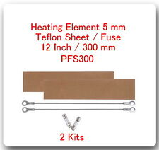 "2 Heating Elements 5 mm + 2 PTFI Sheets) For Impulse Sealer 12"" / 300mm PFS300"
