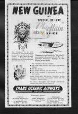 TRANS OCEANIC AIRWAYS TO PORT MORESBY NEW GUINEA CHEIFTAIN SOLENT 1951 SYDNEY AD