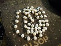 """~Silpada """"Fresh Catch"""" Pearl 925 Sterling Silver Necklace 31"""" Long~"""