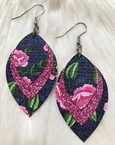 Denim With Pink Roses &  Pink Glitter Faux Leather Earrings Triple Layer