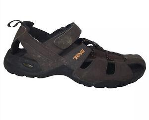 Teva Mens 12 Sandals Leather Shock Pad Fisherman Brown Hook Loop Hiking Sport