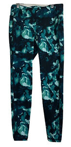 OLD NAVY Women's Active Black & Green Print Leggings ~ Size L