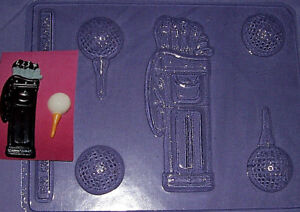 ONE LARGE GOLF BAG AND CLUBS WITH FOUR SMALL GOLF BALL SHAPES CHOCOLATE MOULD
