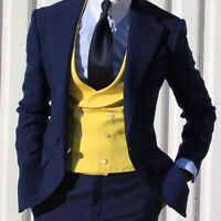Yellow Double Breasted Vested Suits Wedding Groom Men's Formal Suits 3 Pieces