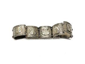 VINTAGE Estate Sterling Silver .925 Peru Peruvian Storyteller Bracelet