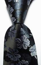 New Classic Floral Black Gray White JACQUARD WOVEN 100% Silk Men's Tie Necktie
