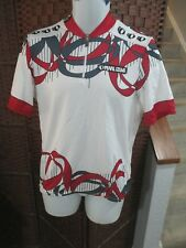 Men's pearl Izumi Cycling jersey 1/4 Zip Large White Multi Color Shapes pattern