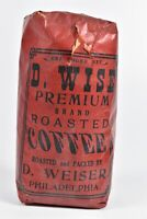 Rare Vintage 1890's Full One Pound Packaged Coffee Beans D. Wiser Philadelphia