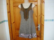 Ladies textured dress with sequin trim and chain detail size S by Jasmine London