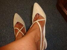 Garolini Women Beige Suede Sexy Strappy Heels - Made in Italy -Size 6 1/2N