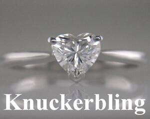 Diamond Solitaire Ring Heart Shape Certificated 0.61ct G VS2 VG 18ct White Gold