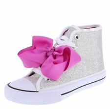 JoJo Siwa Lagacee High Top Silver Sneakers Shoes w/ Pink Bows Girl Size 3.5 NEW