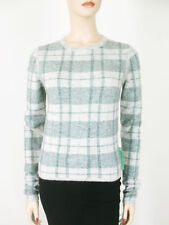 Paige Autry Sweater Plaid Optic Mint Grey Alpaca Wool XS $296 9226 BM12