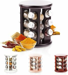 Wooden Spice Rack with Spices Included | Rotating Organiser Handmade 12 Jars New