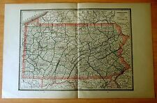 Antique Map 1886 PENNSYLVANIA & NEW JERSEY 21 1/8 x 13 1/2