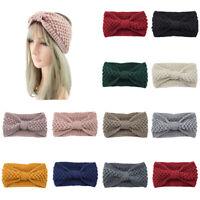 Camel, Grey, Black, Creamy White 4 Pack Winter Button Headband Knitted Bowknot Ear Warmer Head Warmer Head Wrap Hair Bands for Women