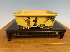 Shohin Size Sano Daisuke Hand Painted Bonsai Tree Pot, 4� Yellow W/ Paint
