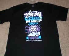 Stussy Men's XL New York*Los Angeles*Tokyo*London*Paris Black Tee Shirt Mint!