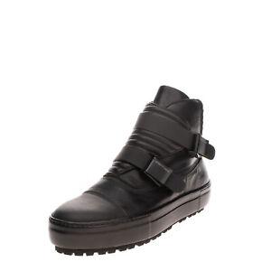 RRP €340 EMPORIO ARMANI Leather Sneaker Boots EU 44 UK 10 US 11 Flip Buckle Logo