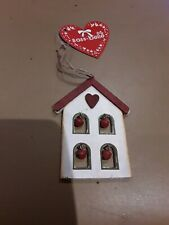 NEW Wooden House With Bells Hanging Decoration