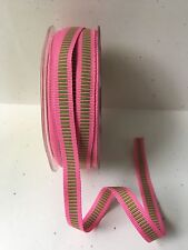 "3/8"" Grosgrain Ribbon w/ Horizontal Lines-May Arts - 333-46 Pink/Green - 5 Yds."