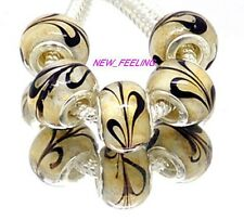 20PCS Brown Feather Lampwork Glass Beads Fit European Charm DIY Bracelet Gift