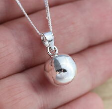 New Solid 925 Sterling Silver 10mm Plain Ball Pendant Chain Necklace Jewellery