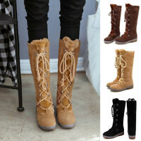 Winter Ladies Fashion Suede Lace Up Knee High Fur Warm Snow Boots Low Heel Shoes