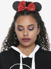 Disney Minnie Mouse Ears Red Sequins Bow Headband Halloween